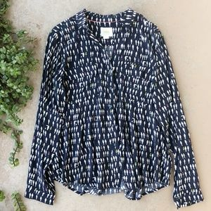 Maeve Anthropologie Navy Parrot Button Up Top